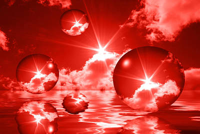 Bubbles In The Sun - Red Print by Shane Bechler