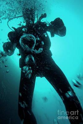 Bubbles Surrounding A Scuba Diver Underwater Art Print by Sami Sarkis