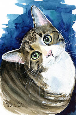 Painting - Bubbles - Tabby Cat Painting by Dora Hathazi Mendes