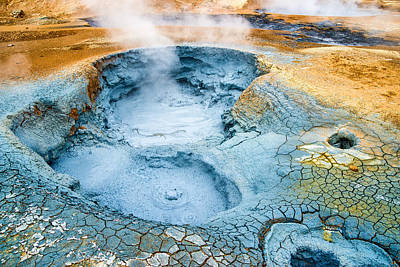 Mudpot Photograph - Bubbling Mud Pot Geothermal Area Hverir In Iceland by Matthias Hauser