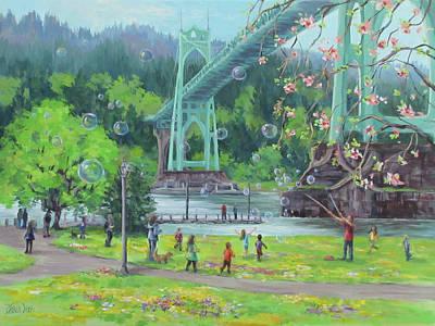 Painting - Bubbly Bridge by Karen Ilari