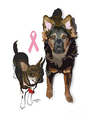 Chihuahua Digital Art - Bubo And Bear Against Breast Cancer by Donna Newsom