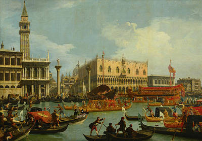 Italian Landscapes Painting - Bucentaur's Return To The Pier By The Palazzo Ducale by Canaletto
