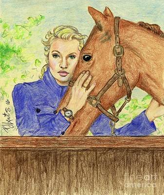 Famous People Drawing - Bucephalus by P J Lewis