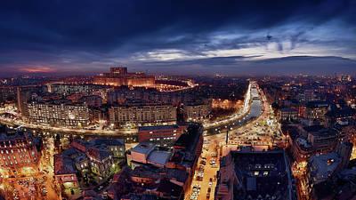 Photograph - Bucharest At Blue Hour  by Gutescu Eduard