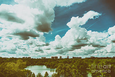 Bucharest Photograph - Bucharest City Skyline View From Youths Park Parcul Tineretului With Blue Sky And White Clouds by Radu Bercan