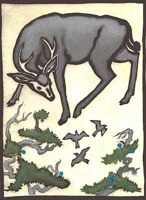 Drawing - Buck And Birds by Dawn Senior-Trask