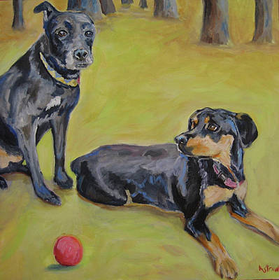 Dog Portrait Painting - Buck And Brody In The Pines by Kellie Straw