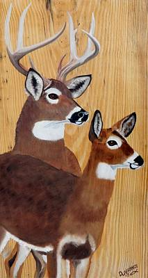 Buck And Doe Deer On Rustic Wood Original by Debbie LaFrance