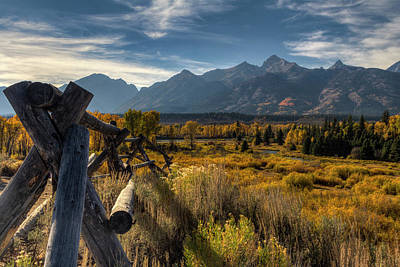 Photograph - Buck And Rail To The Grand Tetons In Autumn by Mark Kiver