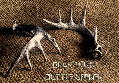 Sculpture - Buck Horn Bottle Opener by Tim  Joyner