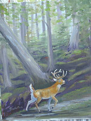 Painting - Buck In The Forest by Judy Fischer Walton