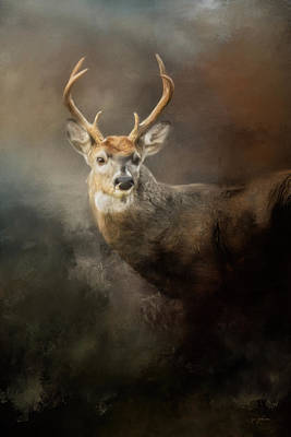 With Texture Painting - Buck In The Moonlight by Jai Johnson