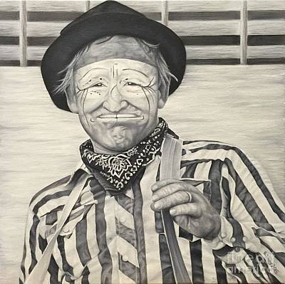 Character Portraits Painting - Buck Legrand Rodeo Clown by Emily Young