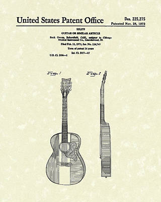 Musical Drawing - Buck Owens Guitar 1972 Patent Art  by Prior Art Design