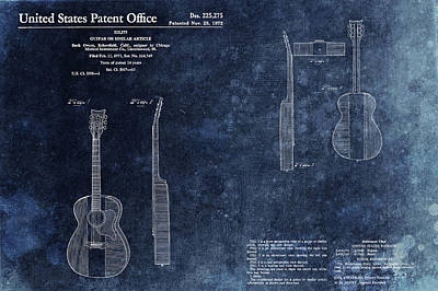 Chord Mixed Media - Buck Owens Guitar Patentt by Dan Sproul