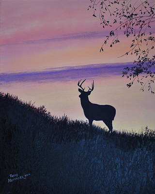 Buck And Doe Painting - Buck Silhouette Enchanced by Penny Neimiller