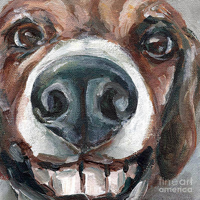 Buck-toothed Beagle Art Print by Linda Vespasian