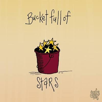 Folkart Mixed Media - Bucket Full Of Stars by Jennifer Heath Henry