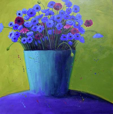 Painting - Bucket Of Blue by Nancy Jolley