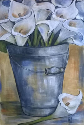 Arum Lily Painting - Bucket Of Calla Lilies by Kareni Bester
