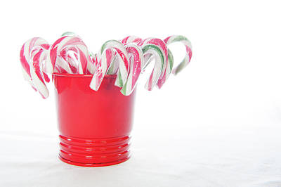 Photograph - Bucket Of Candy Canes by Helen Northcott