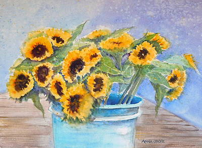 Painting - Bucket Of Sunflowers by Anna Jacke