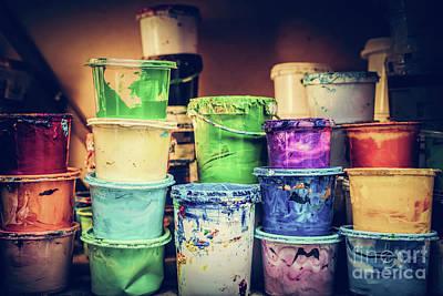 Photograph - Buckets Of Liquid Paint Standing In A Workshop. by Michal Bednarek