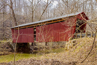 Music Royalty-Free and Rights-Managed Images - Buckeye Furnace Covered Bridge  by Jack R Perry