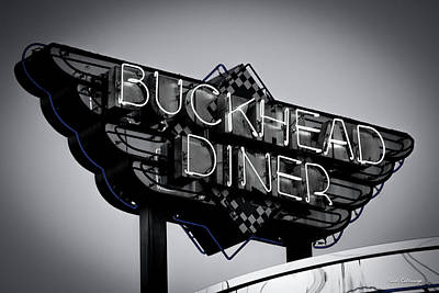 Photograph - Buckhead Diner Sign Bw 2 Buckhead Signage Art by Reid Callaway
