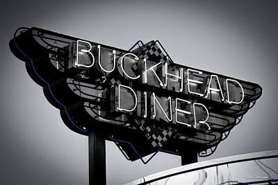 Photograph - Buckhead Diner Sign Bw 2 Buckhead Signage Art by Reid Callaway