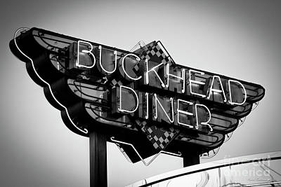Photograph - Buckhead Diner Sign Bw Signage Art by Reid Callaway