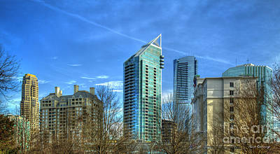 Pyrography - Among Giants Buckhead Grand Sovereign Tower Place Atlanta Buckhead Cityscape Art by Reid Callaway