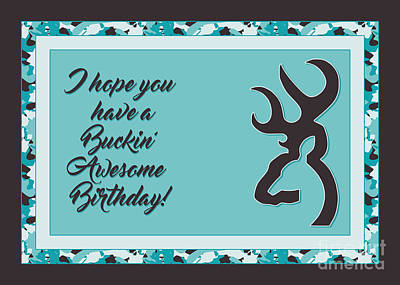 Digital Art - Buckin' Awesome Birthday by JH Designs