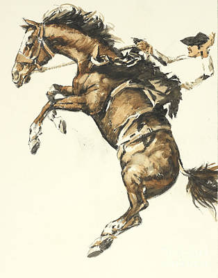 Bucking Horse Facing Left Original by Don Langeneckert