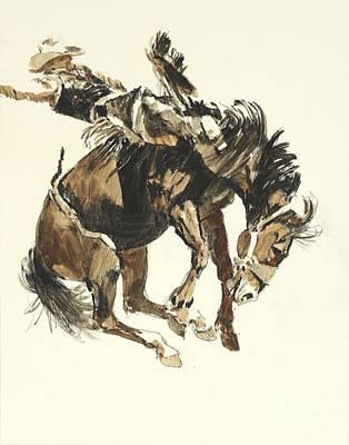 Bucking Horse Facing Right Art Print by Don Langeneckert