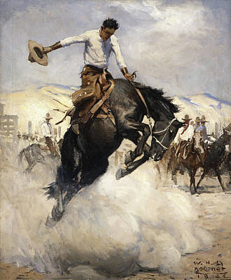 George Bush Wall Art - Painting - Bucking by William Henry Dethlef Koerner