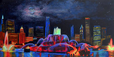 Moon Rise Painting - Buckingham Fountain In Chicago by Michael Durst