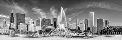 Buckingham Fountain Skyline Panorama Black And White Art Print by Christopher Arndt