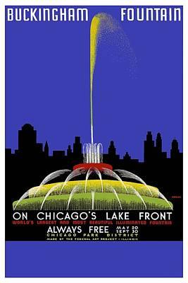 Painting - Buckingham Fountain Vintage Travel Poster by Studio Grafiikka
