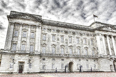 Buckingham Palace London Snow Art Print