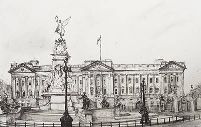 Lamppost Drawing - Buckingham Palace by Vincent Alexander Booth