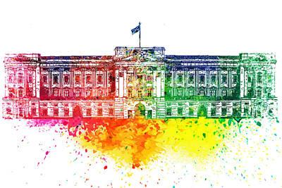 Buckingham Palace Digital Art - Buckingham Palace Watercolor by PixBreak Art