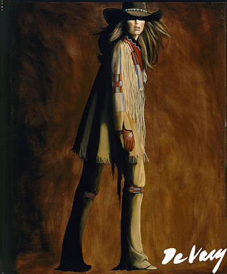 Cowgirl And Cowboy Painting - Buckle Up by David DeVary