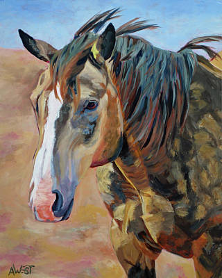 Dun Horse Painting - Buckles by Anne West