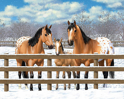 Buckskin Appaloosa Horses In Snow Art Print by Crista Forest