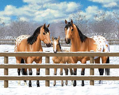 Buckskin Horse Painting - Buckskin Appaloosa Horses In Snow by Crista Forest