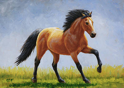 Wild Mustang Painting - Buckskin Horse - Morning Run by Crista Forest