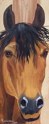 Animals Paintings - Buckskin horse head on wood by Debbie LaFrance