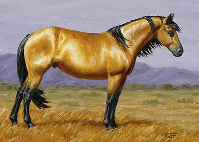 Wild Mustang Painting - Buckskin Mustang Stallion by Crista Forest